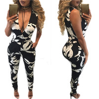 White and Black Plunge Tight Jumpsuits