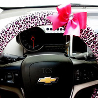 Pink Cheetah Steering Wheel Cover with Your Choice of Bow