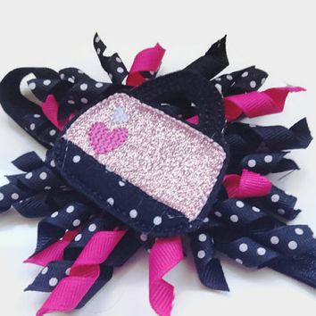 Paris Purse Headband for Girls - Hot Pink Headband - Korker Hair Bow - Black and Pink Sparkly Headband - Korker Headband for Girl
