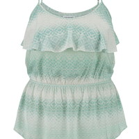 Plus Size - Patterned Tank With Ruffle - Mint Creme