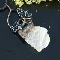 Quartz necklace by POCIECHA bohemian,wire wrapped,electroformed,earthy,jewelry electroforming,unique,witch,necklace,earthy gift for her