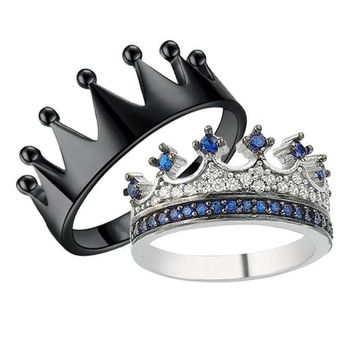 King & Queen Crown Black Blue Women & Men Couples Ring Drop Shipping