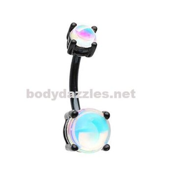 Black Colorline Revo illuminating Prong Set Belly Button Ring Navel Ring 14ga