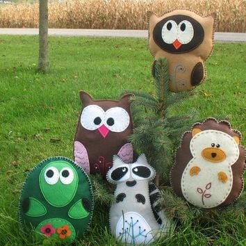 Woodland Forest Stuffed Animal PATTERNS - PICK 2 - Sew by Hand Felt Owl Turtle Hedgehog Raccoon Felt Plushies - Easy