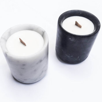 Piccolo Marble Candle White