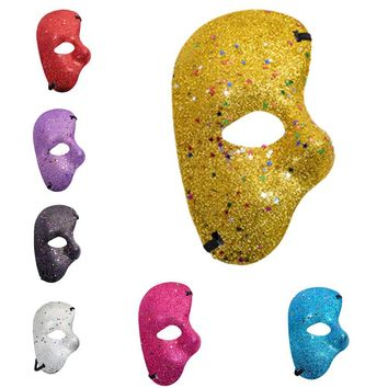 Christmas Halloween  Plastic Mask Opera Phantom Glitter Powder Half Face Mask Masquerade Props Face Cover Party Supplies