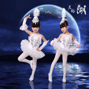 New Girls Ballerina Dress Kids White Swan Lake Ballet Costumes Children Strap Dance Wear