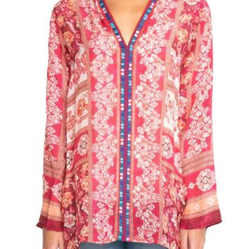 Johnny Was Trim V-Neck Multi B Blouse