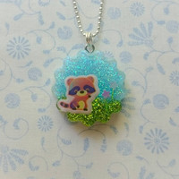Kawaii Racoon on a Sunny Day Sparkling Green and Blue Resin Pendant Necklace