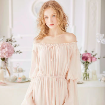 Free Shipping 2017 New  Spring  Women's White and Pink Princess Pijamas Chiffon Nightshirt Long Sleepwear Vintage Nightgown