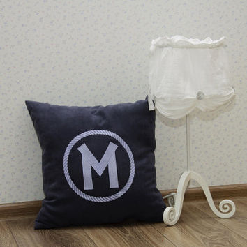 Monogram Pillow Covers Circular Rope Custom Personalized Name Initial Decorative Pillow Cover Home Decor Monogrammed Throw Pillows Gift V4