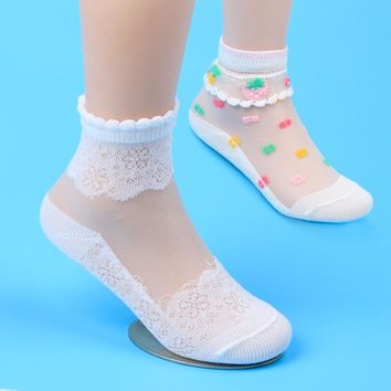 Cute!!!! Girls Mesh Style Socks with Trendy Elastic Lace Flowers 5 Pair Set 1 Year To 12 Years