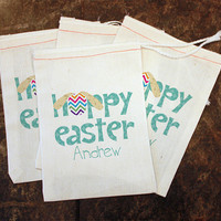 Easter Party Favors - Kids Easter Bags / Easter Egg Hunt Gift / Hoppy Easter Candy Bag / Kids Classroom Party / 5x7 Muslin Bags / Treat Bag