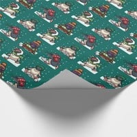 Christmas Funny Penguin Snowball Fight Cartoon Wrapping Paper
