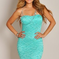 Mint Teal Floral Lace Strapless Dress w/Necklace