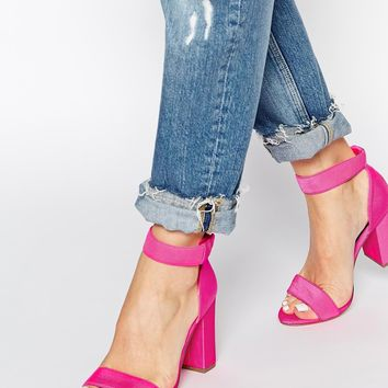 New Look Sub Bright Pink Ankle Strap Heeled Sandals