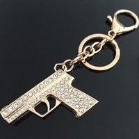 Rhinestone Gold Key Chain
