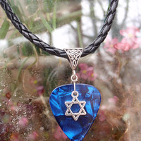Jewish Star of David Necklace, Hebrew Faith Guitar Pick Jewelry, Judaism  Religion, Tibetan Silver Triangle Bail, Choice 12 Colors