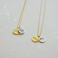 Love or Luck - small coin necklace - minimal cute jewelry
