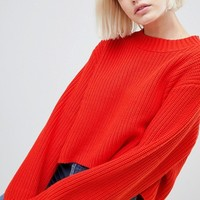 Weekday Thick Rib Cropped Jumper at asos.com