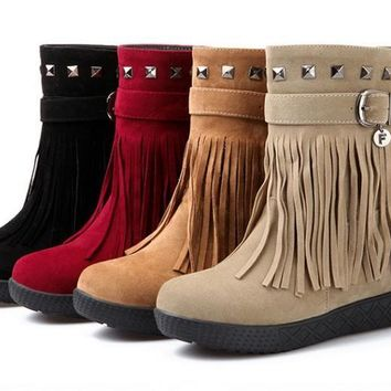 Womens Stylish Fringe Stud Ankle Boots