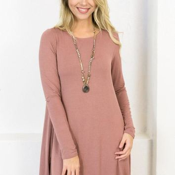 Long Sleeve Swing Dress with Pockets | Mauve