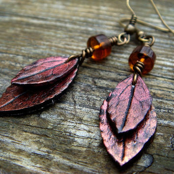 Red Leaf Earrings  Red and Bronze Polymer Clay by JustClayin