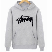 Stussy Street Tide brand classic printed letter long sleeve hooded pullover sweater