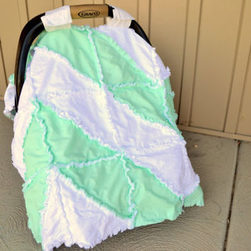 Chevron Rag Quilt Car Seat Tent Mint Green and White Ready to Ship More Colors Available