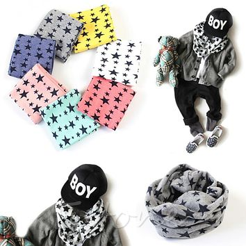 New Baby Winter Warm Boys Girls Stars Collar Scarf Children O Ring Neck Scarves