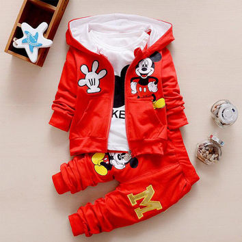 Fashion Kids Baby Boys / Girls Clothes girl Baby Party Minnie Children Clothing T-shirt+Jacket+Pants 3PCS Clothing Sets For 1-4Y