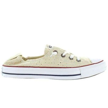 CREYONIG Converse All-Star Chuck Taylor Shoreline Slip - Off White Canvas Eyelet Cut-Out Slip-On Sneaker