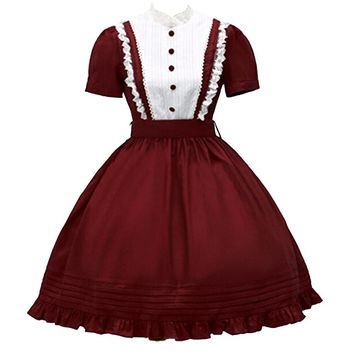 Partiss Women's Lace Stand Collar Short Sleeves Lolita One-Piece Dress