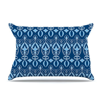 "Julia Grifol ""Blue Deco"" Aqua Pattern Pillow Case"