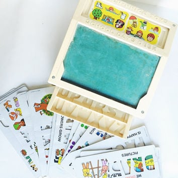 Vintage, 1970s, Fisher Price, School Desk, Teaching Cards, vtg learning toy, baby gift, gift for child, birthday