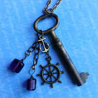 "Skeleton Key Necklace ""Anchors Away"" - Antique Brass Key with Anchor and Purple Glass Bead Detail"