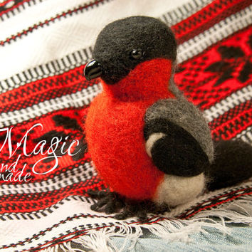 Felted bullfinch, felt bird, needle felted animal, exotic, wool toy