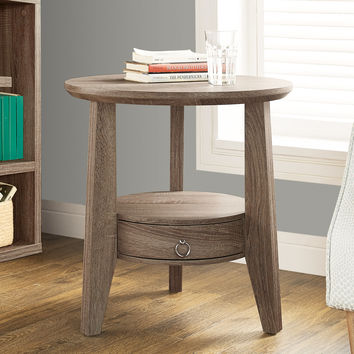 "Accent Table - 23""Diameter - Dark Taupe With 1 Drawer"
