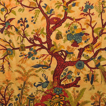 Tree Of Life Wall Hanging, Indian Tapestry, Bohemian Tapestry, Hippie Wall Hanging, Picnic Blanket, Indian Bed Cover Or Bedspread