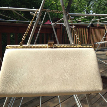 Vintage taupe purse. Neutral clutch with chain. Mid century handbag. Dressy purse for evening.