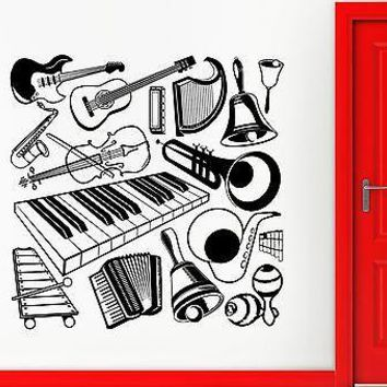 Wall Sticker Vinyl Decal Music Musical Instrument Guitar Orchestra Decor Unique Gift (i1831)
