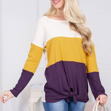 Golden Indigo Knot Block Top