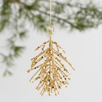 Glittered Metal Pinecone Ornaments Set of 2