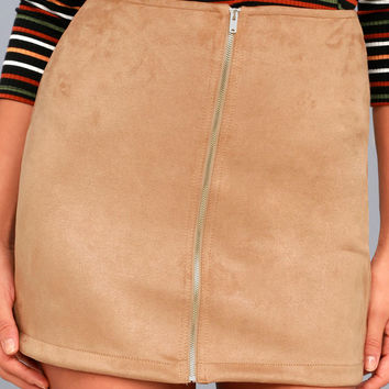 Haute Babe Tan Vegan Suede Mini Skirt