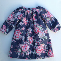 Ring o Roses Blue Floral Pleated Long Sleeve Dress Tunic, baby, girl, toddler