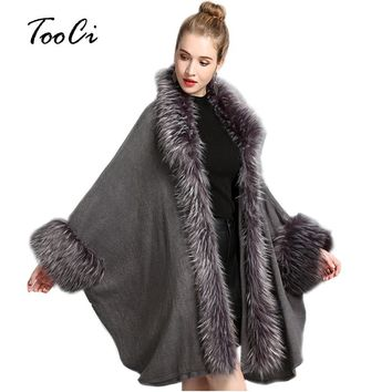 Ponchos And Capes And Winter Lady Loose Knitted Shawl Cardigan Fashion Fake Fur Women Bat Sleeve Poncho And Cape