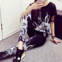 """Adidas"" Women Casual Fashion Flame Smog Print Short Sleeve Trousers Set Two-Piece Sportswear"