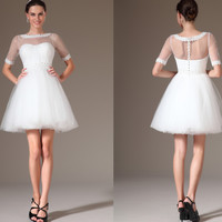 Custom Made New Lace Neckline Short Wedding Dress (01140107)