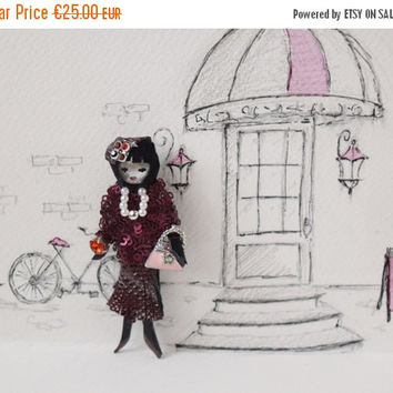 ON SALE Burgundy leather lady brooch, retro girl pin, unusual jewelry, gift for girlfirend
