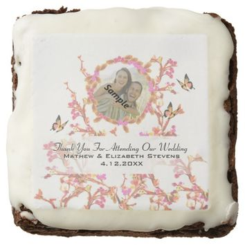 Beautiful Thank You Pink Vintage Wedding Favor Square Brownie